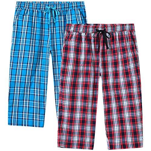 JINSHI Mujer Pantalones Pijamas Cortos Algodón a Cuadros Casual Pantalones de Estar Verano Shorts con Bolsillos 2 Pack L