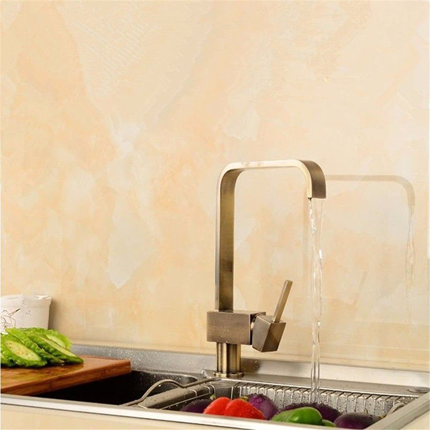 Commercial Single Lever Pull Down Kitchen Sink Faucet Brass Copper Lead-Free Kitchen Faucet Quartet Hot and Cold Mixing Valve Sink Faucet Retro Water-Saving Environmental Predection Faucet