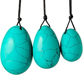 rockcloud Green Howlite Turquoise Set of 3 Drilled Yoni Eggs with String, Massage Stones for Women to Train Pelvic Muscles Kegel Exercise
