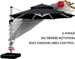 PURPLE LEAF 11 Feet Double Top Deluxe Solar Powered LED Round Patio Umbrella Offset Hanging Umbrella Outdoor Market Umbrella Garden Umbrella, Black
