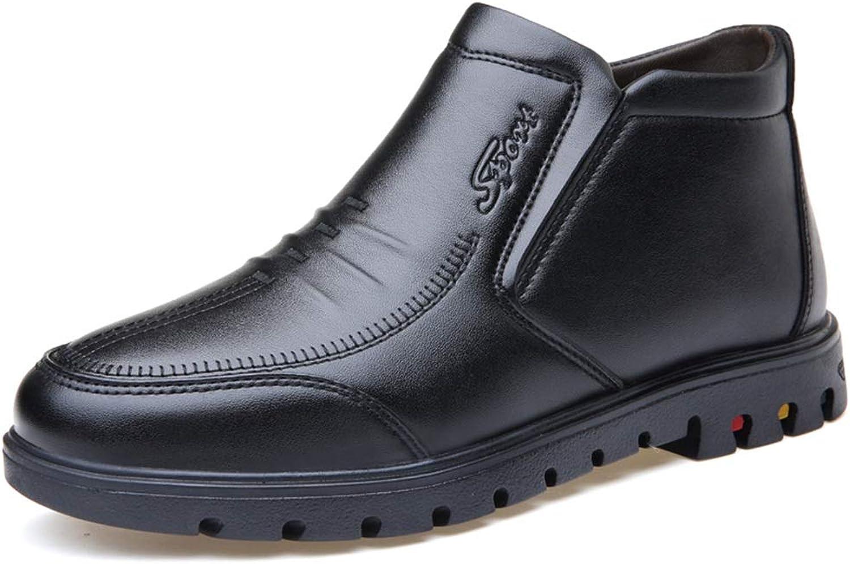 Easy Go Shopping Herren-Lederschuhe Ankle Stiefel Slip on Warm Faux Fleece-Innensohle aus Gummi,Grille Schuhe
