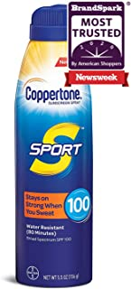 Coppertone SPORT Continuous Sunscreen Spray Broad Spectrum SPF 100 (5.5-Ounce), White