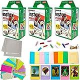 Fujifilm Instax Mini Instant Film (3 Twin Packs, 60 Total Pictures) + DNO 60 Sticker Frames, 5 Plastic Desk Frames,10 Paper Frames, Micro-Fiber Cleaning Cloth