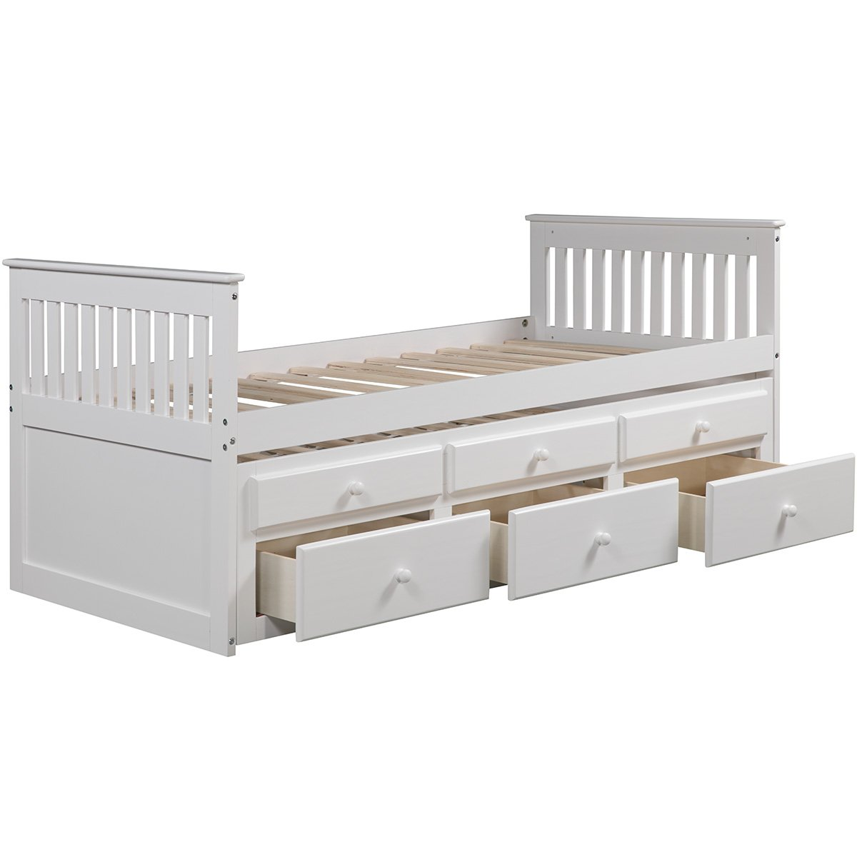Captains Daybed Trundle Storage Drawers