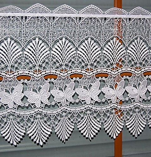 tischdecken-iris-shop GARDINEN Scheibengardine Plauener Spitze ® Weiß Schmetterlinge Vollspitze Gardine Panneaux (40x128 cm)
