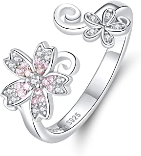 Kokoma Dainty Flower Open Eternity Promise Rings S925 Sterling Silver Pink Crystal Cubic Zirconia Statement Stacking Engag...