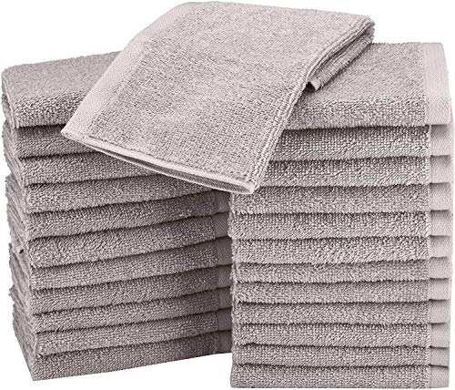 Amazon Basics Lot de 24 petites serviettes en coton 30 x 30 cm Gris