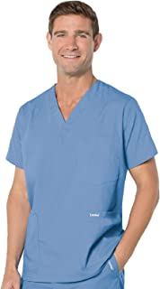 Landau Essentials Men's 5-Pocket Scrub Top Ceil Blue S