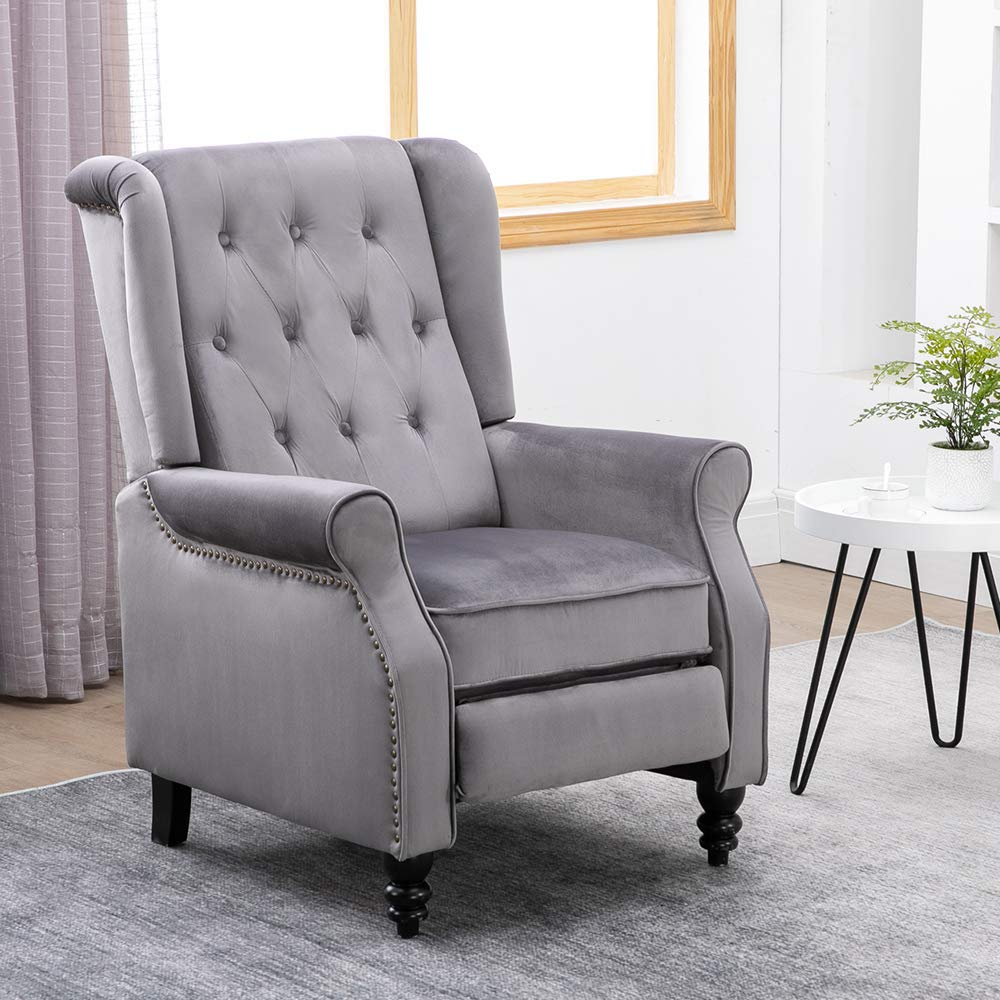 BOJU Adjustable Living Room Recliner Chair Grey Vintage Bedroom Armchair  Single Sofa Chair Wing Back with Velvet Fabric Upholstered Seat Push Back