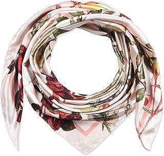 35 بوصة مربع للنساء من الحرير شعور الأوشحة وشاح الرأس للنوم الضبابي روز الوردي الزهور