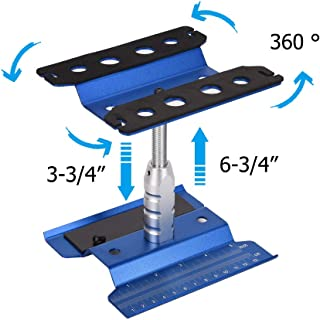 Xpurc New Upgraded Rc Car Stand Repair Workstation Aluminum Alloy 360 Degree Rotation Lift or Lower for 1/10 1/12 1/8 Scale Truck Crawler Buggy(Blue, Gen 2)