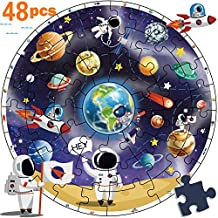 iPlay, iLearn Wooden Solar System Jigsaw Puzzles, Circular Floor Puzzle, Planets Learning Space Toy, Educational Children Gifts for 3 4 5 6 7 Year Olds Kids, Boys, Girls, Toddlers (Blue)