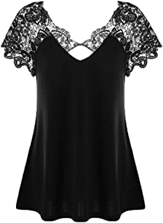 WM & MW Plus Size Tunic Shirt,Women Sexy V-Neck Lace Floral Hollow Short Sleeve Blouse T-Shirt Tops