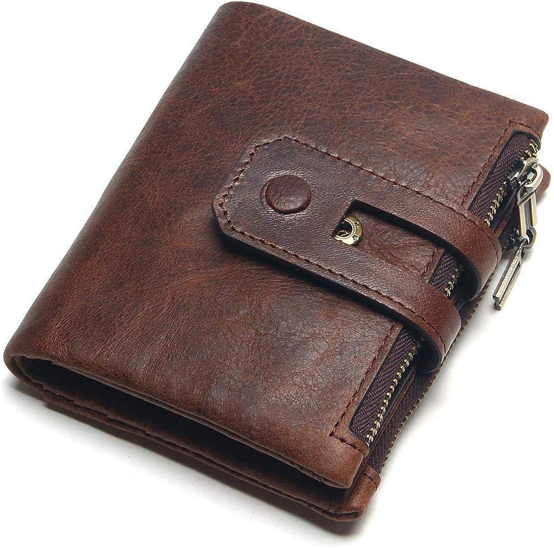 Mayanyan Öl-Wachs Portemonnaie aus Leder Brieftasche Brieftasche Brieftasche Anti-Diebstahl-Mode Casual zugeschnittenen Herren Brieftasche Doppel-Reißverschluss großvolumige B07K578L7Y 051e37
