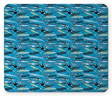 Gaming Mouse Pad, Under The Sea Mouse Pad, Whales Swimming in The Ocean Giants of Underwater Regions Marine Mammals, Rectangle Non-Slip Rubber Mousepad, 9.8 X 11.8 Inch