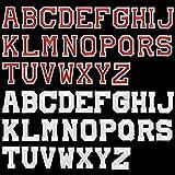 UBERMing 52 Pcs Parches de Planchar de Letras Apliques de Alfabetos de Costura Apliques de Coser con Bordado A-Z para Chaquetas, Bolsos, Sombrero, Jeans, Apliques, Zapatos (rojo, Blanco)