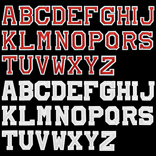UBERMing 52 Pcs Lettres Patch Thermocollants Ecusson à Coudre A-Z Patch en Forme de Lettre Alphabet Autocollants Patches Applique pour Jeans Vêtements Chapeaux Vestes T-Shirt Bricolage - Rouge Blanc