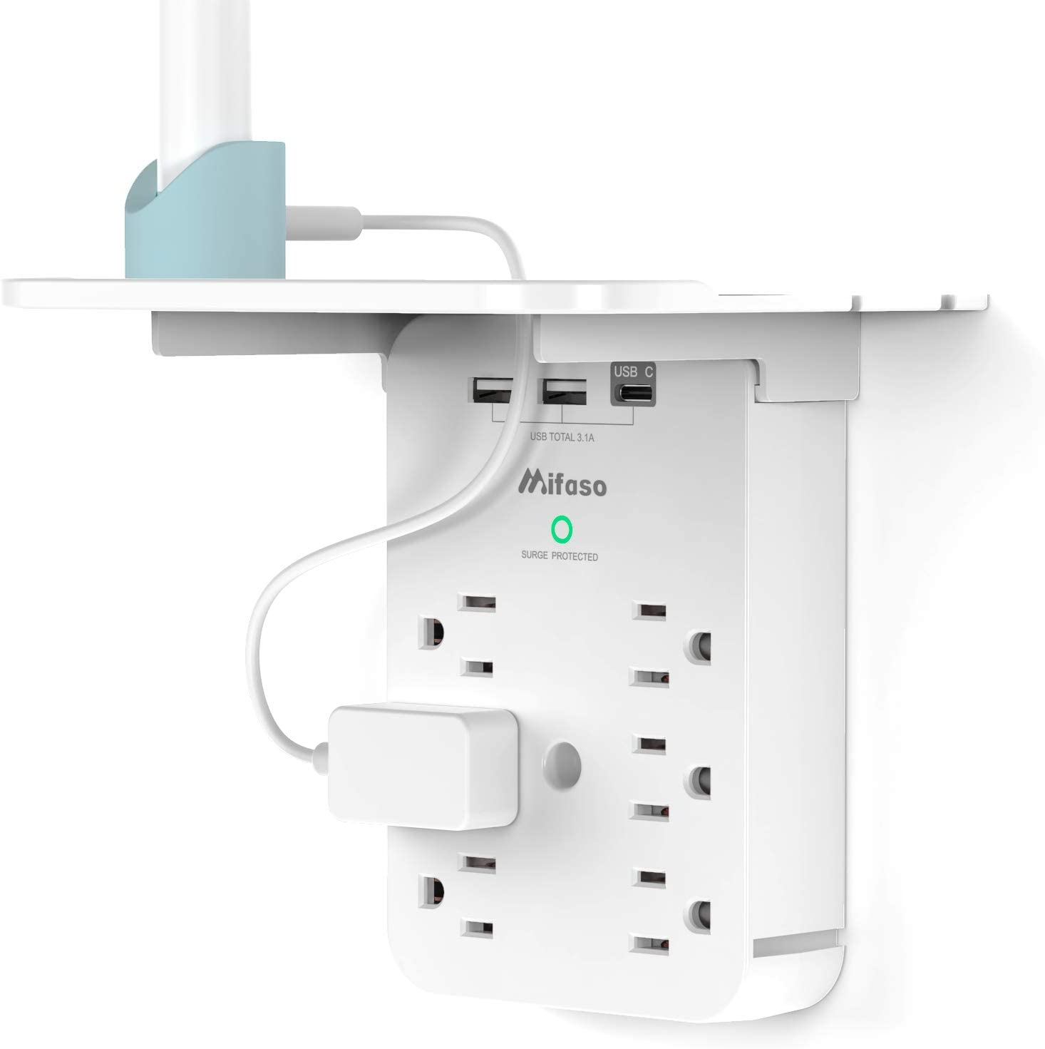 Wall Outlet Extender - Surge Protector 6 AC Outlets Multi Plug Outlet with Shelf, 2 USB and USB C Charging Ports Wall Plug Expander, USB Wall Charger Outlet Splitter for Home Dorm