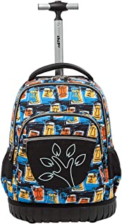 Boys Girls Rolling School Backpacks - Kids Print Pattern Trolley Schoolbag 2 wheeled Waterproof Primary Child Bag Travelling Nylon Adult Teenager Luggage Outdoor