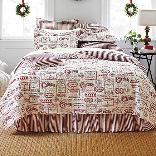 BrylaneHome Vintage Christmas 4-Pc. Quilt Set - Full/Queen, Ivory Red