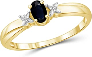 Jewelexcess 0.30 Carat T.G.W. Sapphire and White Diamond Accent 14kt Gold Over Silver Ring