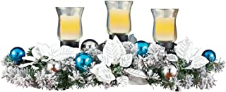 Collections Etc Poinsettia Frosted Evergreen Candle Centerpiece