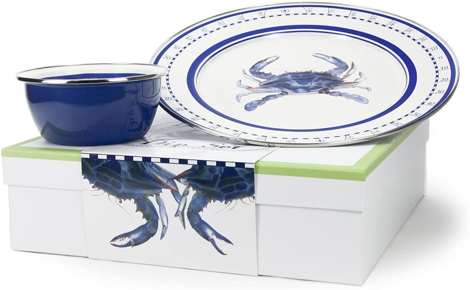 Enamelware, bluee Crab Collection, 2-piece giftboxed set includes 12.5 inch Charger & 3 cup Salad Bowl, 13.5 x 13.5 x 4 inch gift box