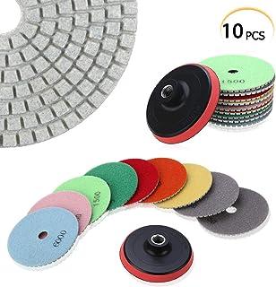 Discos de pulido Dimond, M14 de 4 pulgadas, 100 mm + 2 x 50/100/200/400/800/1000/1500/3000/6000 almohadillas de pulido para hormigón, mármol, granito, piedra