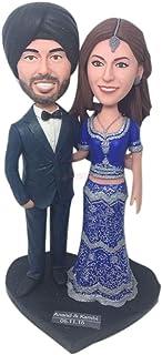 Traje indio personalizado Pastel de bodas personalizado Topper Bobble Head Figura de arcilla basada en las fotos de los cl...