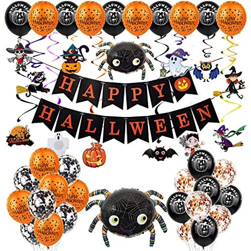 JieBuJuan Halloween Party Hanging Decorations Set Banner Balloons Hanging Swirls Spider Pumpkin Cat Ornaments Supplies