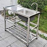 Fregaderos de cocina de acero inoxidable, estructura de mesa práctica moderna fácil de montar Moldeado a presión de una pieza, capa exterior cepillada