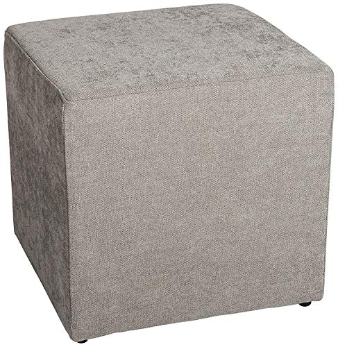 AMARIS Elements | 'Joe' Polsterhocker eckig Würfel Samt 45x45xH45cm Hocker grau Pouf Sofahocker
