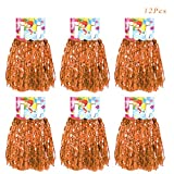 Creatiee 1 Dozen Premium Cheerleading Pom Poms, 12Pcs Hand Flowers Cheerleader Pompoms for Sports Cheers Ball Dance Fancy Dress Night Party (Orange)