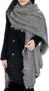 Tartan Blanket Scarf Wrap Shawl Houndstooth Scarf Open Front Poncho Capes with Tassels