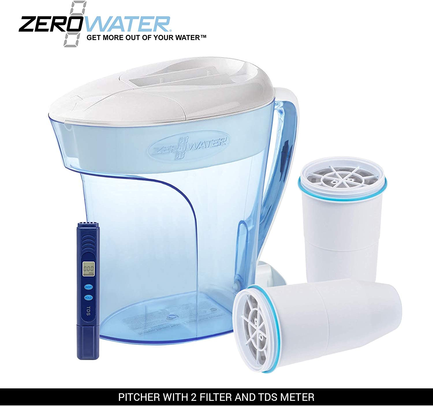ZeroWater 10-Cup Pitcher with 2 Replacement Filter and Free Water Quality Meter