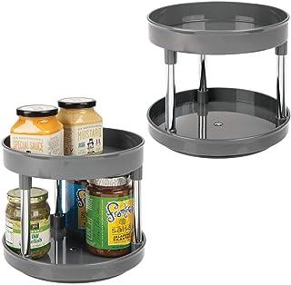 mDesign Lazy Susan Lot de 2 étagères de rangement de cuisine avec étagère rotative en plastique pour condiments, épices, e...