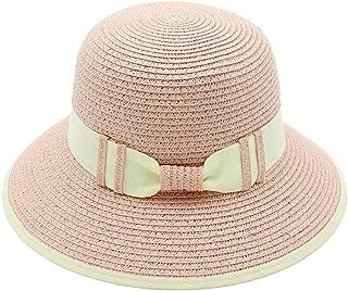 Sunhat Sun Hat Women Men Summer Sun Hat Handmade Straw Hollow Beach Hat Bowknot Ladies Bucket Cap Collapsible Bucket Hat (Color : Pink, Size : 56-58cm)