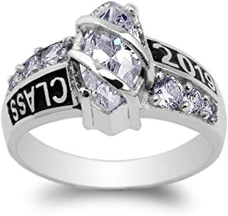 10K White Gold Class of 2019 1.25ct Marquise CZ School Graduation Ring Size 4-10
