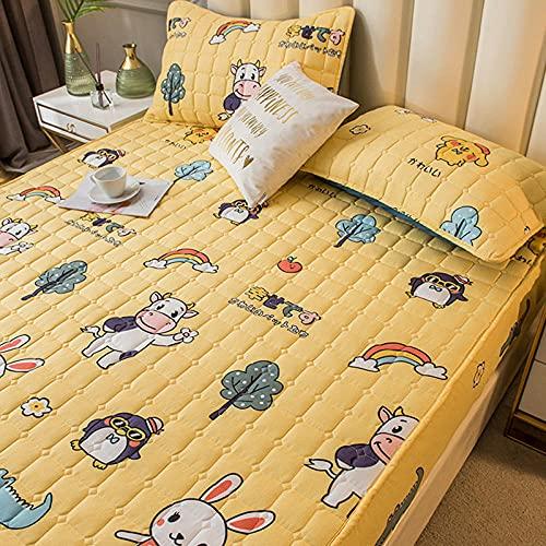 Lenzuolo con angoli extra profondi, con angoli trapuntati, antiscivolo, per camera da letto, appartamento, 200 x 220 cm, colore: giallo