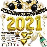 Sancuanyi New Year Eve Decoration 2021 Nochevieja/Juego de Decoración de Fiesta de Año Nuevo, Feliz Año Nuevo Pancarta, Aluminio Globos 2021, Fotos Accesorios,Botella de Champán Aluminio Globo