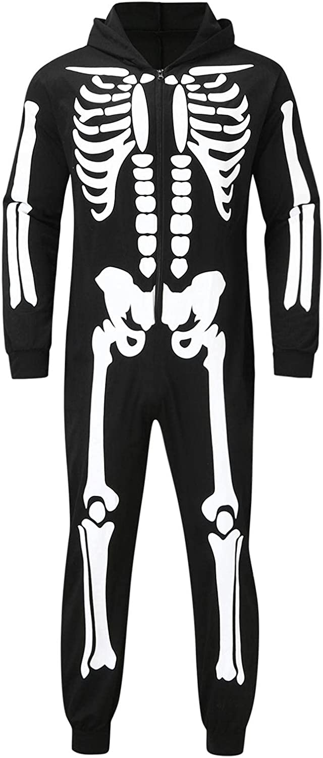 Halloween Matching Family Pajamas Sets Skeleton Print Zip Up Hooded One Piece Jumpsuit Romper Holiday Family Sleepwear