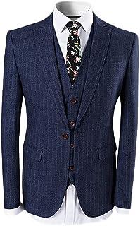 FOMANSH メンズ スーツ スーツセット スリーピーススーツ カジュアル スーツ スリム ストライプ柄 绅士風 長袖 一つボタン 四季 入学式 結婚式 卒業式