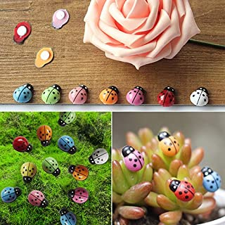 yanQxIzbiu Garden Resin Decor, 100Pcs Mini 3D Plastic Ladybug Micro Landscape Bonsai Ornament Home Office Decor- Best Indoor Outdoor Decorations for Patio Yard Office and House