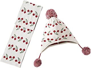 Tortor 1bacha(JP)ニット帽子白い桜の女の子秋と冬の綿の耳元の子供の暖かいスカーフニット帽子スカーフ2ピース