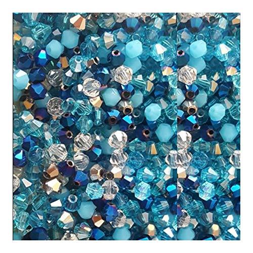 WEIYUE Cuentas de cristal de 4 mm con forma de bicónica y piedra para joyas, borla de lariat, pendientes de cristal de cuarzo y accesorios de pulsera (color mezclado1)