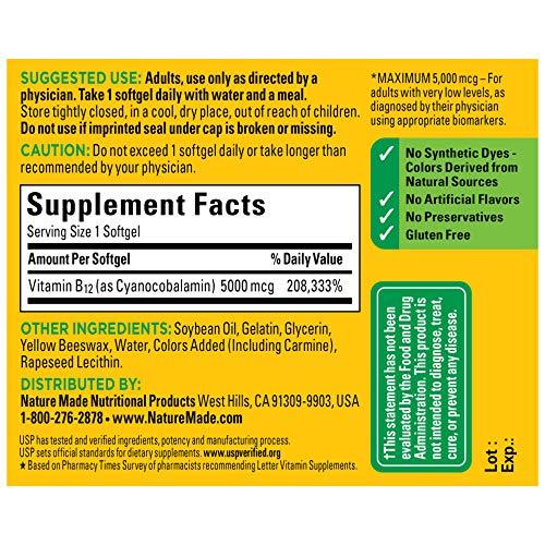 Nature Made Max Strength: Vitamin B12 5000 mcg Softgels 60 Count