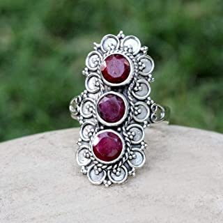 Ruby Ring Sterling silver July birthstone Red Gemstone Long Ring Engagement Gift Gift For wife