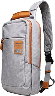 dpark new group series Water-Resistant Canvas& PU Sling Chest Shoulder Bag Pack Small Crossbody Backpacks Portable Sport Pack Travel Backpack for Men Women Child