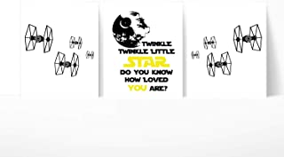 Silly Goose Gifts Twinkle Twinkle Little Star Wars Do You Know How Loved You are Themed Wall Art Decor (Set of Three)