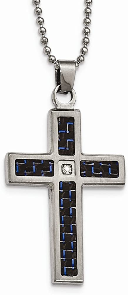 Solid Stainless Steel Men's Brushed/Blk/Blue Carbon Fiber CZ Cubic Zirconia Cross Pendant Necklace Charm Chain 22